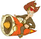 Cowboy On Turbo Bike. Biker-cowboy on a motorcycle turbo rocket Royalty Free Stock Photography