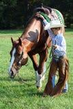 Cowboy u. sein Pferd Lizenzfreies Stockbild