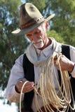 cowboy västra gammala roper Fotografering för Bildbyråer