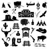 Cowboy västra lös västra symbolsuppsättning stock illustrationer