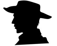 Cowboy vector. Cowboy head illustration - black outline over white Stock Photography