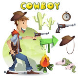 Cowboy vector cartoon with separated layers for game and animation Stock Photos