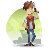 Cowboy vector cartoon with separated layers for game and animation Stock Images