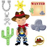 Cowboy vector set Stock Photos