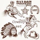 Cowboy vector set west cowboy Stock Photos