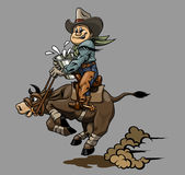 Cowboy. Very hard work of cowboy and cow Stock Images