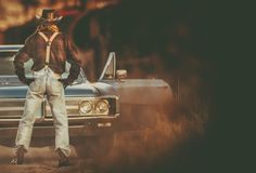 Cowboy Vintage Ride Royalty-vrije Stock Foto