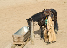 Cowboy watering his horse. At Mini Hollywood Spain Royalty Free Stock Images