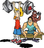 Cowboy weight lifter. Old skinny cowboy lifting heavy weights Royalty Free Stock Images