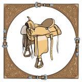 Cowboy westelijk zadel op de achtergrond van het leerkader vector illustratie