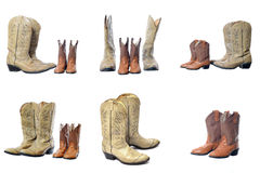 Cowboy western boots isolated on a white background. Father and son Royalty Free Stock Photos