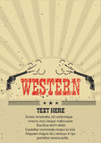Cowboy western poster with guns.Vector illustration on old paper Royalty Free Stock Images