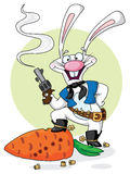 Cowboy white rabbit Stock Images