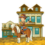 Cowboy - wild west - illustration for the children. The happy and colorful illustration for the children Royalty Free Stock Photography