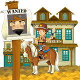 Cowboy - wild west - illustration for the children. The happy and colorful illustration for the children Stock Photos