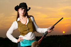 Cowboy woman. Royalty Free Stock Image