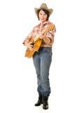 Cowboy woman with a guitar. Stock Photos