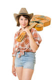 Cowboy woman with a guitar. Royalty Free Stock Images