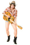 Cowboy woman with a guitar. Stock Photography
