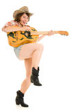 Cowboy woman with a guitar. Royalty Free Stock Photos