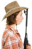 Cowboy woman with a gun. Stock Image