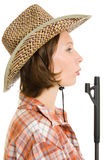 Cowboy woman with a gun. Stock Photos