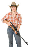 Cowboy woman with a gun. Royalty Free Stock Image
