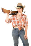Cowboy woman with a gun. Royalty Free Stock Photo