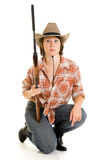 Cowboy woman with a gun. Royalty Free Stock Images