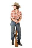 Cowboy woman with a gun. Royalty Free Stock Photography