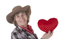 Cowboy woman with red heart Royalty Free Stock Images