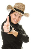 Cowboy woman on a white background. Royalty Free Stock Images