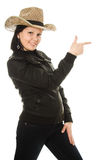 Cowboy woman on a white background. Royalty Free Stock Photos