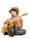Cowboy Woman With A Guitar. Stock Photo