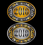 Cowboy 2016 year oval belt buckle design Stock Photography