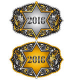 Cowboy 2016 year sheriff badge belt buckle design. 2016 western emblem - eps available stock illustration