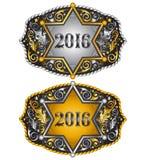 Cowboy 2016 year sheriff badge belt buckle design Royalty Free Stock Photo