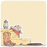 Cowboyachtergrond met westelijke laarzen en het westenhoed royalty-vrije illustratie