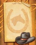 Cowboyalter Papierhintergrund Stockbild