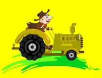 cowboychaufförtraktor stock illustrationer