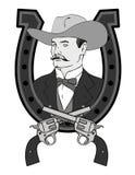 Cowboyemblem mit Gewehren Stockfotos