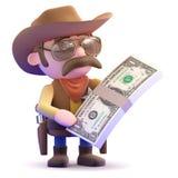 cowboyen 3d har överflöd av dollar Royaltyfri Fotografi
