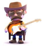 cowboyen 3d spelar den elektriska gitarren Arkivfoton