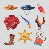 Cowboyen eller den västra sheriffen accessorises isolerat på bakgrund royaltyfri illustrationer
