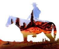 Cowboyen på bakgrunden av vaggar och himmel stock illustrationer