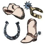 cowboyen skissar royaltyfri illustrationer