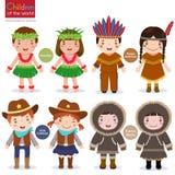 cowboyer för indian för barnvärldsUSA eskimo hawaianska Arkivfoton