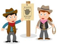 Cowboyer som ser den önskade affischen royaltyfri illustrationer