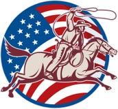 Cowboyfahrpferd Lasso-amerikanische Flagge Stockfoto