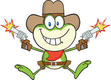 CowboyFrog Cartoon Character skytte med två vapen royaltyfri illustrationer